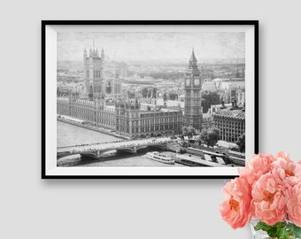 London Photography Print London Instant Download Wall Art London Printable Decor London Big Ben Print Panorama London Black and White