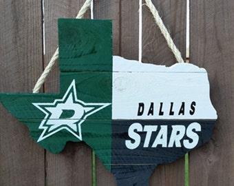 Rustic Wooden Dallas Stars Texas Shaped Flag Door/Wall Hanging