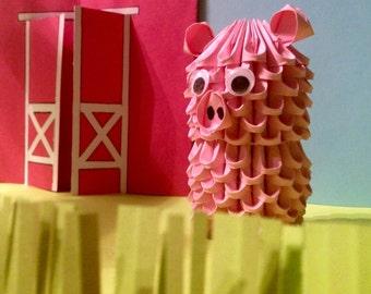 Cute 3D Origami Pig