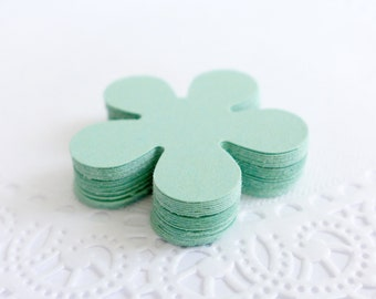 Mint Green Retro Flowers, Cardstock Flowers, Die Cuts, Punched Cardstock, Scrapbook Embellishment,Table Scatters,Confetti
