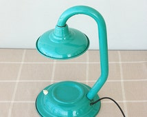 Vintage Desk Lamp Turquoise Enamel desk lamp 1970's table lamp Enamelled desk lamp Italian Retro Industrial home decor