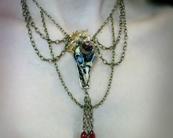 Queen Raven Skull Necklace With Vintage Brass Glass and Lampwork Drops Cruelty Free Resin cameo Taxidermy Style