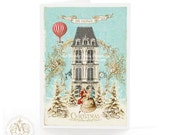 I'll be home for Christmas, Christmas card, holiday card, hot air balloon, Christmas tree, dancing couple, winter, snow scene, French