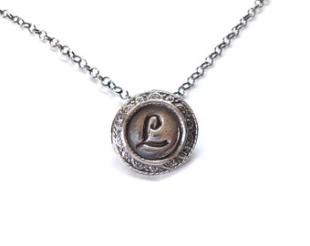 Baroque Initial Necklace in Fine Silver