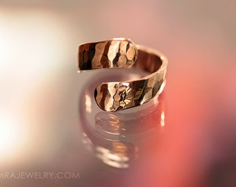 Hammered Copper Open Wrap Ring Band - Adjustable US Size 8 - Handcrafted Copper Jewelry