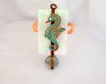 Seahorse Nightlight, glass and copper night light, beachy night light, hostess gift