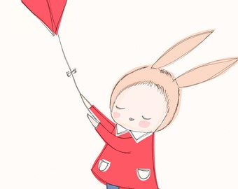 "A4 or 8x10"" - Nursery Art Poster - Childrens Poster - Baby Girl Bunny Rabbit Flying a Kite in the Sky - Red version"