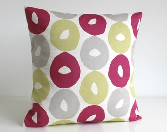 Scandinavian Pillow Cover, Pillow Cover, Throw Pillows, Cushion Cover, Cotton Pillows, Accent Pillow - Scandi Circles Rose