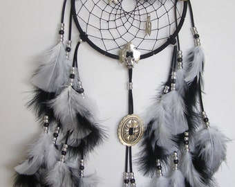 Black & White 7 Inch Ring Thunderbird Concho Dream Catcher