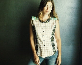 Boho top Lolita style peterpan collar top ruffled sleeves OOAK plaid shirt