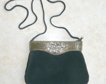 Evening Bag Black with Gold Beading Pleated Vintage