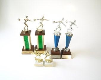 Set of 6 vintage bowling trophies retro gag gift prize kitsch statue home decor mid century modern man woman set pair