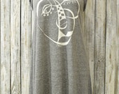Womens Tank Dress, Grey Dress, Boho Clothing, Hipster, Bohemian, Hippie Dress, Casual Cotton Dress by Uni-T