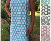 Size XS-L: Aqua Sky/ Seafoam Green and White Polka Dot SPA WRAP/ Bath Wrap/ Towel Wrap/ Bridesmaid Gift