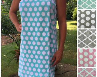 Size XL-XXL: Aqua Sky/ Seafoam Green and White Polka Dot Spa WRAP/ Bath Wrap/ Towel Wrap/ Bridesmaid Gift