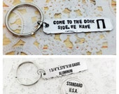 STORE CLOSING SALE Come To The Dork Side. We Have Pi, Pi Symbol, Pi, Geek Gift, Hand Stamped, Keychain, Key Chain, Angelorian Tradition
