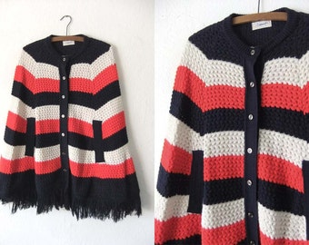 Color Block Crocheted Poncho Cape with Fringe - Boho Chic Red White Blue Button Front Mod Poncho Coat