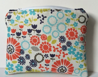 Retro Boho Kitsch Zipper Pouch. Floral. 70's. Navy Blue. Orange. Aqua. Makeup Bag. Pencil Pouch. Coin Purse. Tulips. Daisies. Padded.