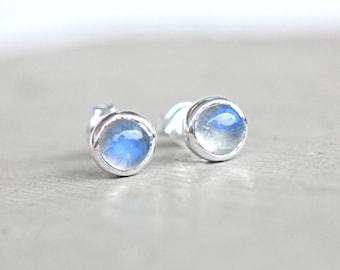 Rainbow Moonstone Studs Sterling Silver Little Tiny Blue Moonstone Earrings 6mm Earrings Studs