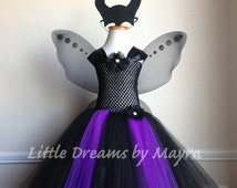 Maleficent inspired costume with wings and horns size nb to 14years