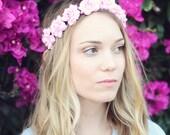 THE ALEXIA Pink Flower Rose Elastic Headband Cute Flower Hair Boho Hippie Headpiece Childrens Prom Wedding Flower Girl Crown Wreath Woodland