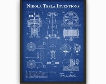 Tesla inventions wall art poster nikola tesla patent wall tesla inventions wall art poster nikola tesla patent wall art engineer science poster gift malvernweather Gallery