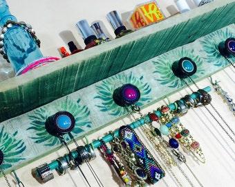 Pallet wood wall shelf /recycled wood shelving /jewelry holder /Necklace hanger wall stenciled Art Deco flowers 5 knobs bracelet bar 6 hooks