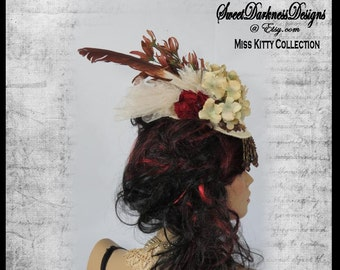 Steampunk Fascinator Victorian Fascinator Ivory Jacquard Feather Fascinator Hydrangea Red Carnation Victorian Hat by SweetDarknessDesigns