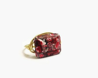 Red Stone Ring, Wire Wrapped Ring, Statement Ring, Natural Stone, Gift for her