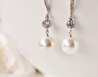 Pearl Bridal Earrings Pearl Wedding Earrings Bridesmaid Earrings White Ivory Swarovski Pearl Earrings Drop Earrings Bridesmaid Gift Jewelry