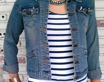 Studded Denim / Reworked Studded Vintage Jean Jacket / Studded Jean Jacket / Vintage Jean Jacket Women Size S