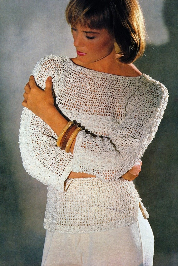 Easy Crochet Sweater Patterns Beginners : Crochet Womens Sweater PATTERN Easy Beginner by ...