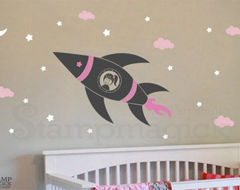 Rocket Wall Decal - Outer Space Vinyl Wall Decor Nursery Children's Room - Girl Astronaut in Rocket Ship - K151