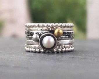 Hammered Silver Stacking Rings with Freshwater Pearl and Gold Sphere, Mixed Texture and Finish, Seven Stackable Rings