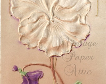 1907 Deeply Embossed Flower French Postcard Post Card from Vintage Paper Attic
