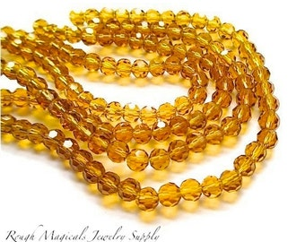 Golden Topaz Amber Glass Beads, 6mm Faceted Round Beads, Glass Crystals, Sparkling Glam Beads, Fall Autumn Color Beads - 36 Pieces SP508