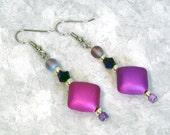 Hot Pink Earrings - Pink Dangle Earrings, Women's Drop Earrings, Nickle-Free Ear Wires, Handmade Beaded Earrings, Ready to Ship