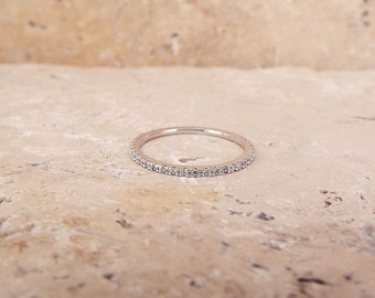 1 mm White Gold High Quality Eternity Ring CZ Diamond Ring Stacking Eternity Ring Rhodium Full Eternity Micro Pave Ultra thin Wedding Band