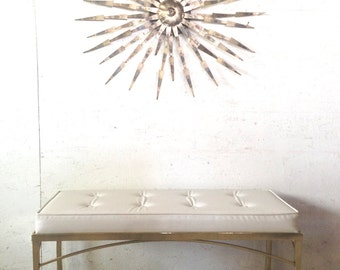 """Vintage Brass Bench Mid Century Brass White Tufted End of Bed Bench 36.5"""" Hollywood Brass Bench"""