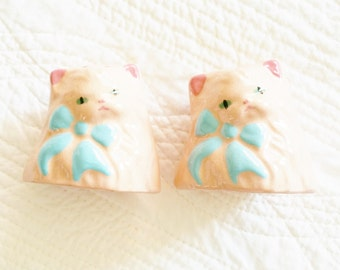 Vintage Cottage Home Pink Blush and Turquoise Blue Kitten Salt and Pepper Shakers, Romantic Home, Olives and Doves
