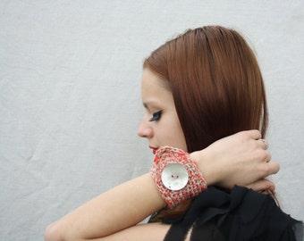 Crochet wrist cuff Linen bracelet Tattoo cover up Wristband Shell button Textile jewelry Arm cuff Ethnic folk bracelet Tribal bracelet Gift