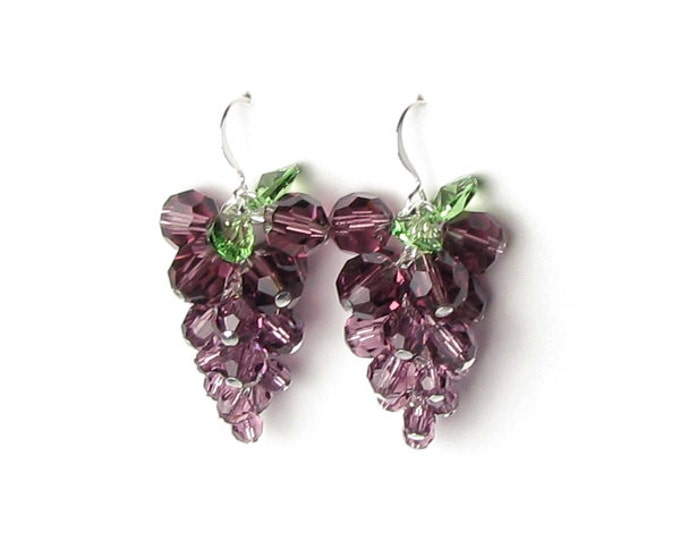 Grape Earrings, Purple Wine Country Fall Jewelry, Wine Tasting Party, Silver, Cascading Amethyst Czech Glass Cluster, Women's Autumn Jewelry