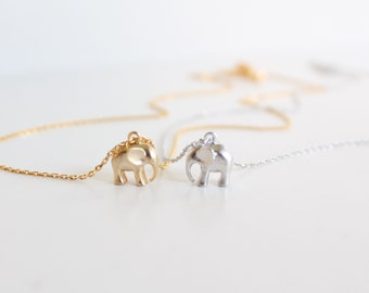 Elephant Necklace, 14K Gold Filled Chain Or .925 Sterling Silver Chain, Gold/Silver Baby Elephant, Symbolic Lucky Charm, Wisdom, Layering