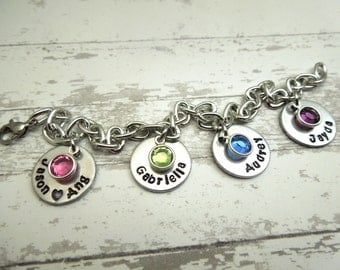 Personalized cable bracelet, name and birthstone bracelet