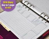 Printable daily planner 2016 diary - Filofax A5 size - Day to 1 page (days & dates included) organizer insert refills - Green