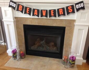 Oregon State Banner    OSU Beavers    Football Banner    Orange & Black    Civil War Decorations    Graduation Banner    Gift for Him