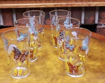 Set of 6 Vintage 1960s Drinking Glasses.
