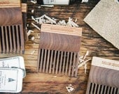 BEARD COMB: Handcrafted Fine Tooth Beard Comb (Walnut and Oak Wood) - Moustache and Beard Care Made in Canada