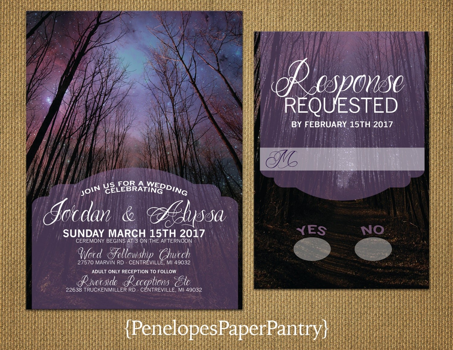 Enchanted Forest Themed Wedding Invitations: Romantic Rustic Enchanted Forest Wedding InvitationsPurple