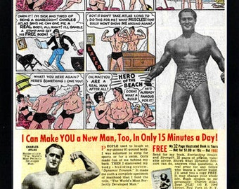 Charles Atlas Hero of the Beach Advertisment Vintage Style Framed Poster